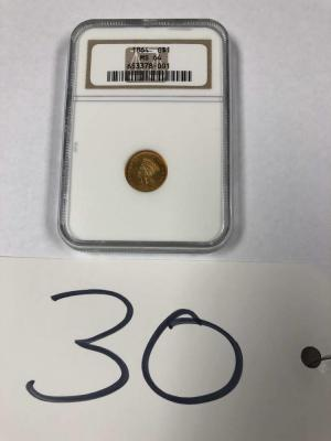 1864 $1 Gold coin NGCA graded MS64 in pouch