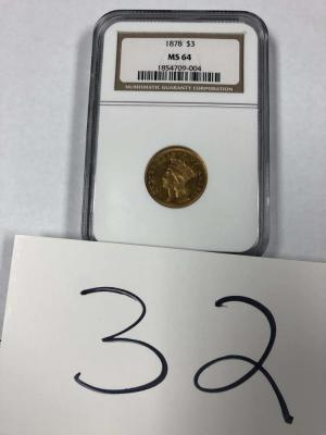 1878 $3 Gold coin NGC graded MS64