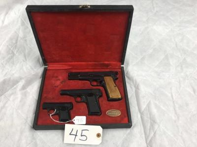 Belgium Browning boxed set of 3 pistols - 2 - 9mm and 1 - 6mm