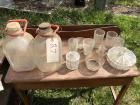 2 glass gallon milk jugs, candy dish, other glassware