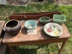McCoy mixing bowl, brown crock bean pot, 2 other pottery planters, Blue Ridge bowl, buying all