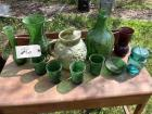 Lot of Forest green glassware, Ruby red vase, blue ball canning jar, buying all