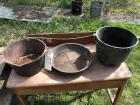Two antique cast iron pots, sifter