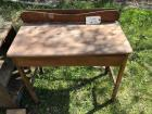Old mid-century one drawer maple table, as-is
