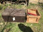 Old wooden box w hinged lid, other heavy duty wooden box, buying both