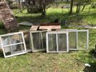 9 Antique wooden windows w/ glass