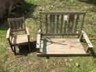 Antique porch swing, child's rocker, as-is