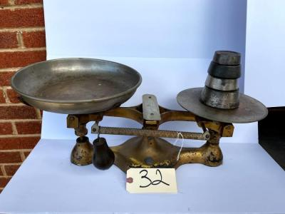 Antique enterprise scale w/ 9lbs. of weights