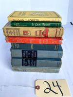 "Small lot of antique books: ""As a Man Thinketh"", ""In Green Pastures"", ""Stars on the Sea"", ""Tom Brown's School Days"", ""Master of Ballentrae"""