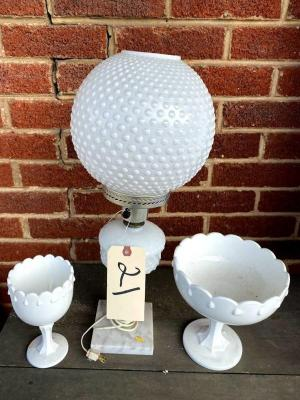 Milk glass lamp w/ hobnail shade, and 2 milk glass compotes