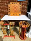 2 vintage croquet sets, vintage game board - Carrom