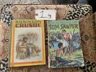 Hardcover Robinson Crusoe vintage, Tom Sawyer softcover 1956