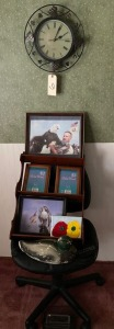 Quartz clock, pc chair as-is, Eagle Photos, styrofoam decoy, spice rack