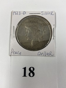 US Peace Dollar 1923-D, good condition, some discoloration