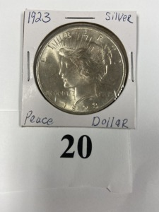 US Peace Dollar 1923, good luster, very light discoloration