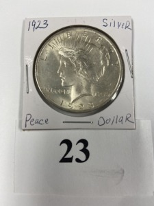 US Peace Dollar 1923, nice luster, very slight discoloration