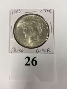US Peace Dollar 1923, good luster, very slight discoloration