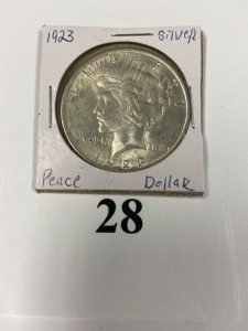 US Peace Dollar 1923, good luster, slight discoloration