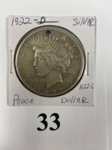 US Peace Dollar, 1922-D, drilled for necklace