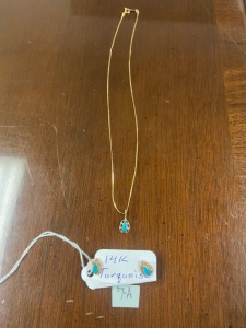 14K Necklace & Earrings, turquoise stones, nice set