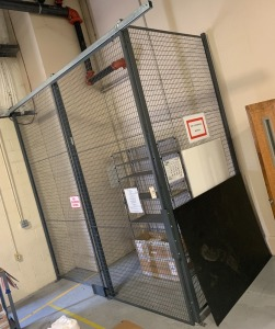 Steel caging w/ sliding door - contents not included