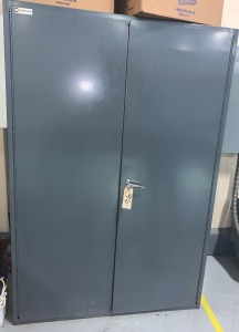 Durham metal cabinet w/ keys and internal shelves