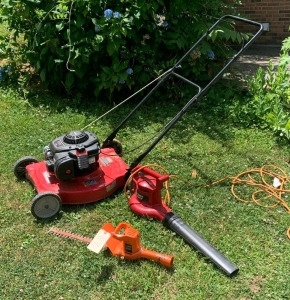 Briggs & Stratton 300E hyper tough lawnmower, Toro power sweep, 16in. Blade B&D hedge trimmer