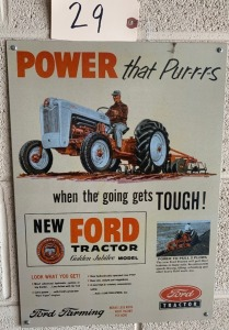 Metal Ford Tractor advertising sign