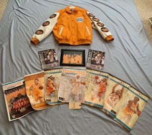Championship Lady Vols jacket Size 2X, Championship photo w/ Pat Summitt all signed by Cait McMahan, 7 Lady Vols Basketball posters