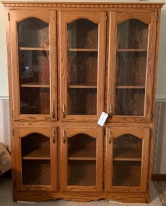 Solid oak mission style solid wood cabinet - excellent condition 72.5in. Tall, 53.75in. Wide, 13.25in. Deep