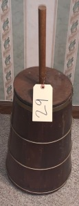 Metal bandedAntique Wooden churn w/ dasher and lid