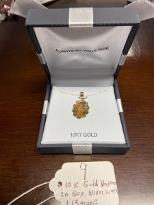 10k gold necklace in orig. box, never worn, taken out of box first time for weighing - 1.13g total weight