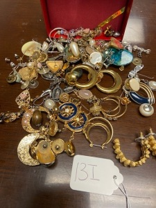 Pairs of costume jewelry earrings, pins, etc.