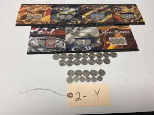 State quarters - 14 in orig. packages, 16 U.S. state quarters, 5 Canadian quarters, 5 Canadian dimes, 1 Canadian nickel
