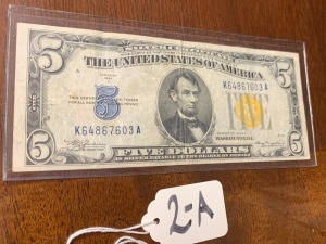 5 dollar silver certificate gold seal series of 1934a