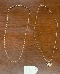 ".925 sterling silver lot 18.36g - 2 large necklaces - both approx. 20"" long"