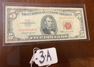 Red seal 5 dollar bill series of 1963