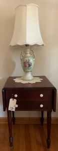 Antique drop leaf table - appears to be walnut w/ 4 porcelain knobs and 2 drawers (lamp NOT included)