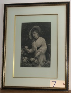 Vintage matted print of Victorian era lady