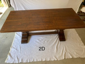 "Distressed wood farm table, mission style base, very solid and well-built. 86""L x 39.5""W x 30.25""T."
