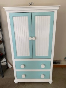 "Spoilled Rotten Furniture-childs armoire. 2 doors over 2 drawers. 68""t x 36""W x 23""D."