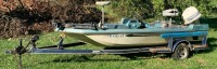 1976 model Arrow glass Boat w/ Johnson 88spl motor (as found) vin: arwvo4100476 &  SMP tow-low single axle boat trailer approx. 18ft.