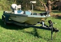 1976 model Arrow glass Boat w/ Johnson 88spl motor (as found) vin: arwvo4100476 &  SMP tow-low single axle boat trailer approx. 18ft. - 2