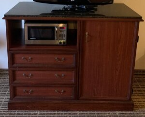 Marble top solid wood entertainment stand (microwave not included) - Room 105