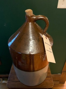 3 gallon glazed crock jug, small hairline crack on front
