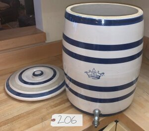 6 gallon crown pottery water dispenser w/ lid - excellent condition, great coloring (one small fleck on lid)