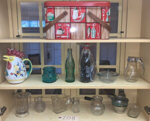 Vintage metal picnic basket, Maryville TN glass coca cola bottle,  other assorted syrup pitchers and kitchenware
