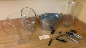 Glass ice bowl w/ 2 flex, 1 metal ice bin, 2 veno wine servers, assorted bottle openers and cork removers