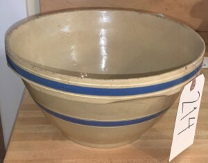 Ovenware glazed pottery bowl - age distressed
