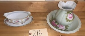 Nippon gravy boat and platter, hand painted bowl and pitcher by Lefton china